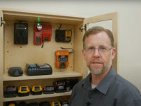 Chris Marshall and his battery charging cabinet
