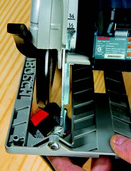 The Bosch saw features a A helpful depth-setting scale in back.