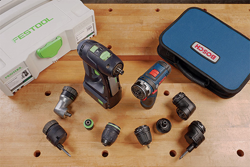Bosch and Festool drill/drivers with interchangeable chucks