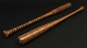 Jamey's baseball bats are beautiful and fine for swinging, but not really built to make contact with a baseball - most are bought as either gifts or trophy bats.