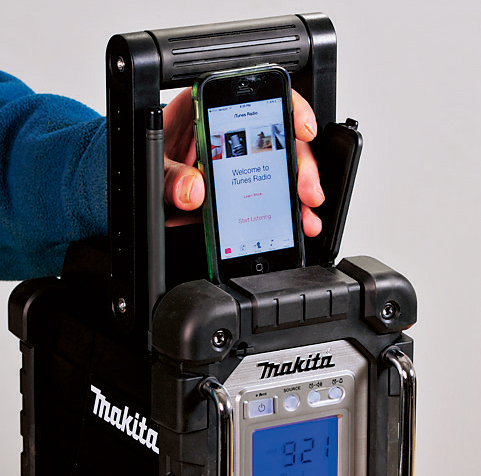 A top-mounted dock on the Makita allows you to plug in and play or charge an iPod or iPhone directly, and to control basic play functions via buttons on the front of the radio.
