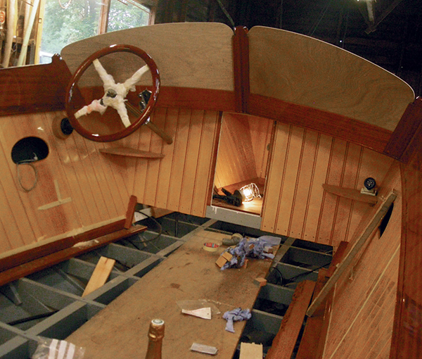 The internal paneling on this slipper stern boat is made from Canadian yellow cedar: it has all the water resistance of red cedar; is harder; and, when varnished, radiates a golden hue (see lead photo).
